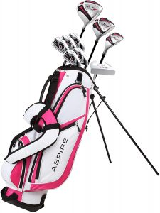 pink and white Aspire golf club bag with clubs